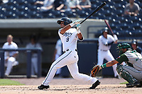 West Michigan Michigan Whitecaps second baseman Anthony Pereira (9) follows through on his swing against the Fort Wayne TinCaps during the Midwest League baseball game on April 26, 2017 at Fifth Third Ballpark in Comstock Park, Michigan. West Michigan defeated Fort Wayne 8-2. (Andrew Woolley/Four Seam Images)