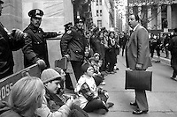 Women blockade the entrances to the New York Stock Exchange as part of Not in Our Name demonstrations 11.19.84-1035-025
