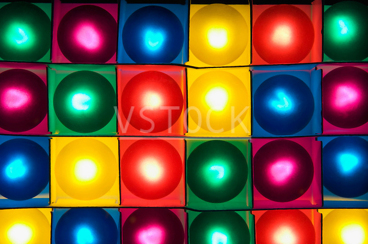Colorful ball lamps in boxes