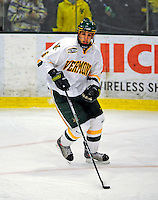 9 January 2009: University of Vermont Catamounts' defenseman Kyle Medvec, a Sophomore from Burnsville, MN, starts up a rush during the first game of a weekend series against the Boston College Eagles at Gutterson Fieldhouse in Burlington, Vermont. The Catamounts scored with one second remaining in regulation time to earn a 3-3 tie with the visiting Eagles. Mandatory Photo Credit: Ed Wolfstein Photo