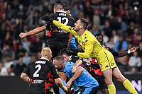 1st May 2021; Bankwest Stadium, Parramatta, New South Wales, Australia; A League Football, Western Sydney Wanderers versus Sydney FC; Daniel Margush of Western Sydney Wanderers comes out to clear the ball from the corner in a crowded area