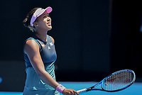 January 21, 2019: 4th seed Naomi Osaka celebrates after winning the fourth round match against 13th seed Anastasija Sevastova on day eight of the 2019 Australian Open Grand Slam tennis tournament in Melbourne, Australia. Osaka won 46 63 64. Photo Sydney Low