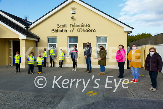 """Sliabh a'Mhadra School Fundraiser: Pictured to announce the Slabh a'Mhadra  School, Ballyduff """"Ag SHuil"""" fundraiser on Go Fund Me at the school on Tuesday evening last were Liz O'Connor, Paul O'Connor, Aileen Nolan, Josephine Keane & Mrs Breda O'Dwyer, principal and pupils from two different pods."""
