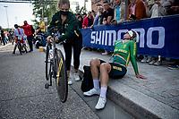 Frances Janse van Rensburg (ZAF/WCC) after finishing<br /> <br /> Women Elite Individual Time Trial from Knokke-Heist to Bruges (30.3 km)<br /> <br /> UCI Road World Championships - Flanders Belgium 2021<br /> <br /> ©kramon