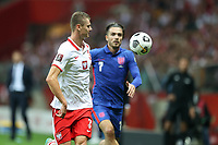 8th September 2021; PGE National Stadium, Warsaw, Poland: FIFA World Cup 2022 Football qualification, Poland versus England;  PAWEL DAWIDOWICZ closed down by JACK GREALISH