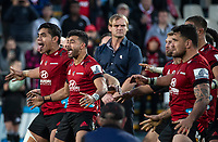 The Crusaders perform a haka after winning the 2020 Super Rugby Aotearoa title at Orangetheory Stadium in Christchurch, New Zealand on Saturday, 9 August 2020. Photo: Joe Johnson / lintottphoto.co.nz