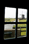 A windmill through the window, the Netherlands