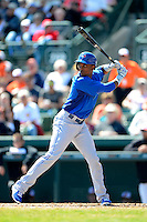 Toronto Blue Jays infielder Eugenio Velez #67 during a Spring Training game against the Baltimore Orioles at Ed Smith Stadium on March 7, 2013 in Sarasota, Florida.  Balitmore defeated Toronto 11-10.  (Mike Janes/Four Seam Images)