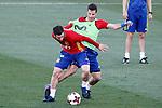 Spain's Nacho Fernandez (l) and Cesar Azpilicueta during training session. March 20,2017.(ALTERPHOTOS/Acero)