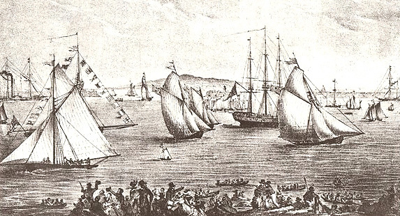 History is made. The first Dublin Regatta of 1828, with the non-racing Pearl at left, the second-placed Ganymede (Col. John Madden) at centre, and the winner Liberty on right.