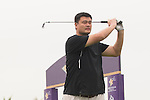 Yao Ming tees off the 1st hole of the World Celebrity Pro-Am 2016 Mission Hills China Golf Tournament on 23 October 2016, in Haikou, Hainan province, China. Photo by Marcio Machado / Power Sport Images