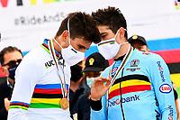 IMOLA, ITALIA - SEPTEMBER 25 : VAN AERT Wout (BEL), GANNA Filippo (ITA) during the Men Elite Individual Time Trial at the UCI 2020 Road World Championships cycling race in Emilia Romagna Imola, Italia, 25/09/2020 <br /> Imola 25/09/2020 <br /> Campionati Mondiali Ciclismo 2020 <br /> Cronometro <br /> Photo Vincent Kalut/Photonews/Panoramic/Insidefoto <br /> ITALY ONLY