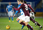 St Johnstone v Hearts…05.04.17     SPFL    McDiarmid Park<br />David Wotherspoon gets between Andras Struna and Esmael Gonclaves<br />Picture by Graeme Hart.<br />Copyright Perthshire Picture Agency<br />Tel: 01738 623350  Mobile: 07990 594431
