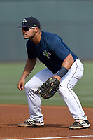 First baseman Brandon Brosher (25) of the Columbia Fireflies plays defense in a game against the Rome Braves on Sunday, July 2, 2017, at Spirit Communications Park in Columbia, South Carolina. Columbia won, 3-2. (Tom Priddy/Four Seam Images)