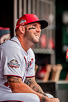 20 May 2018: Washington Nationals first baseman Matt Adams sits in the dugout prior to a game against the Los Angeles Dodgers at Nationals Park in Washington, DC. The Dodgers defeated the Nationals 7-2, sweeping their 3-game series. Mandatory Credit: Ed Wolfstein Photo *** RAW (NEF) Image File Available ***