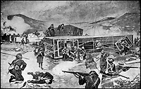 BNPS.co.uk (01202) 558833Pic: DNW/BNPS<br /> <br /> The armoued train which was derailed, ambushed and attacked, Chieveley 1899.<br /> <br /> A bravery medal awarded at the behest of Winston Churchill to a train driver who tried to save the future Prime Minister from being captured during the Boer War has come to light.<br /> <br /> A young Churchill roused wounded driver Charles Wagner and engine firemen Alexander Stewart into action after their armoured train was attacked and derailed by enemy soldiers.<br /> <br /> Churchill, then a newspaper war correspondent, talked Wagner out of fleeing the scene and remain in his engine cab in order to clear the blocked line.<br /> <br /> Although he was captured, Churchill later escaped and insisted both men be awarded the Albert Medal.