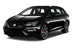 2017 Seat Leon-ST-Cupra - 5 Door Wagon Angular Front stock photos of front three quarter view