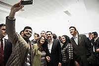 Pictured: Alexis Tsipras poses for a selfie Tuesday 08 March 2016<br /> Re: The Prime Ministers of Turkey Ahmet Davutoglu and Greece Alexis Tsipras have met in Smyrna, Turkey to discuss ways to enhance their cooperation as both countries are grappling with an influx of migrants,