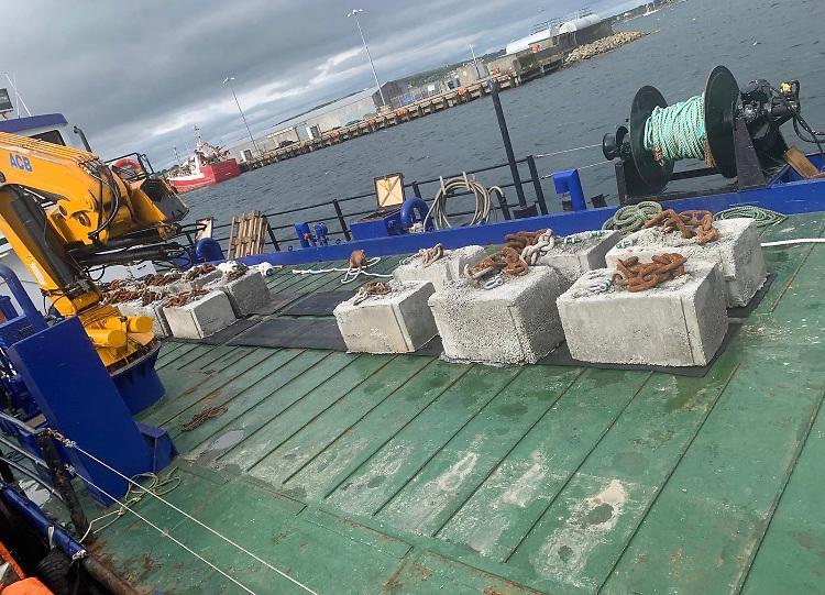 The new moorings blocks being shipped to the Aran Islands for GBSC's Lambs Week Regatta