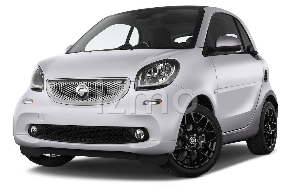 Stock pictures of low aggressive front three quarter view of a 2015 Smart FORTWO PRIME 3 Door Micro Car Low Aggressive