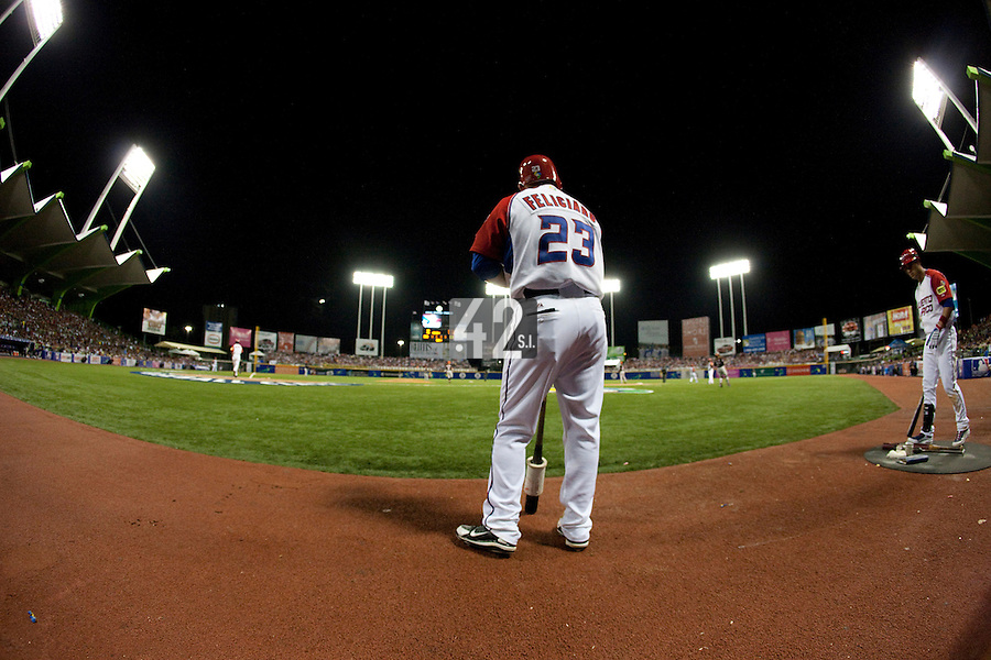 11 March 2009: #23 Jesus Feliciano of Puerto Rico waits in the batter box during the 2009 World Baseball Classic Pool D game 6 at Hiram Bithorn Stadium in San Juan, Puerto Rico. Puerto Rico wins 5-0 over the Netherlands