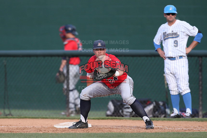 J.J. Matijevic (24) of the Arizona Wildcats in the field at first base during a game against the UCLA Bruins at Jackie Robinson Stadium on May 16, 2015 in Los Angeles, California. UCLA defeated Arizona, 6-0. (Larry Goren/Four Seam Images)