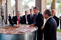 President Barack Obama, Canada's Prime Minister Stephen Harper, left,  Mexico's President Felipe Calderon, right, are shown a display on the making of tequila at the Cabanas Cultural Center in Guadalajara, Mexico, August 10, 2009. The three leaders were in Guadalajara for the North American Leaders' Summit.  (Official White House Photo by Pete Souza)<br /> <br /> This official White House photograph is being made available only for publication by news organizations and/or for personal use printing by the subject(s) of the photograph. The photograph may not be manipulated in any way and may not be used in commercial or political materials, advertisements, emails, products, promotions that in any way suggests approval or endorsement of the President, the First Family, or the White House.