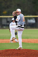 Robert Sayle (12) of Livingston, New Jersey during the Baseball Factory All-America Pre-Season Rookie Tournament, powered by Under Armour, on January 13, 2018 at Lake Myrtle Sports Complex in Auburndale, Florida.  (Michael Johnson/Four Seam Images)