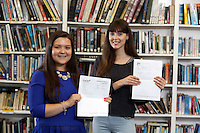 Pictured L-R: Students Kia Warlow and Freya Koutsoubelis.<br /> Re: Ffynone School A Level results, Swansea, south Wales.