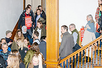 People wait in line to greet Democratic presidential candidate and Massachusetts senator Elizabeth Warren after a campaign rally at Rochester Opera House in Rochester, New Hampshire, on Mon., Feb. 10, 2020. This is the final day of campaigning before voting in the primary happens on Feb. 11. Warren has fallen to 4th or 5th place in recent polls.