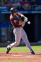Anthony Melchionda #11 of the Boston College Eagles makes contact with the baseball at Durham Bulls Athletic Park May 20, 2009 in Durham, North Carolina. (Photo by Brian Westerholt / Four Seam Images)