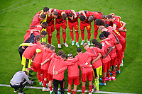Belgian players pictured gathering together ahead of a soccer game during the quarter final Euro 2020 European Championship between the Belgian national soccer team Red Devils and Italy , called the Azzurri , on friday 2 nd of July 2021  in the Allianz Arena in Munchen , Germany . PHOTO SPORTPIX   SPP   DAVID CATRY