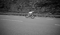 Michael Valgren (DEN/Tinkoff) descending at high speed  from the highest point in the 2016 Tour; the Port d'Envalira (Cat1/2408m/22.6km at 5.5%)<br /> <br /> stage 10: Escaldes-Engordany (AND) - Revel (FR)<br /> 103rd Tour de France 2016