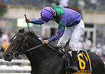 27 Sept 2008:Jockey Alan Garcia celebrates after a  10-length romp aboard Grand Couturier in the Joe Hirsch Classic Invitational Stakes at Belmont Park in Elmont, New York on Jockey Club Gold Cup Day.