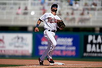 Minnesota Twins first baseman Zander Wiel (71) tracks a foul ball during a Major League Spring Training game against the Pittsburgh Pirates on March 16, 2021 at Hammond Stadium in Fort Myers, Florida.  (Mike Janes/Four Seam Images)