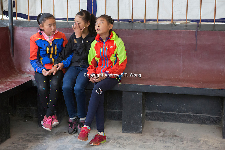 Blind and visually impaired Tibetan girl students share their feelings at the School for the Blind in Tibet, in the capital city of Lhasa, September 2016.