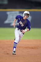 Chris Clare (9) of the High Point Panthers hustles towards third base against the Davidson Wildcats at Willard Stadium on March 21, 2015 in High Point, North Carolina.  The Panthers defeated the Wildcats 15-2.  (Brian Westerholt/Four Seam Images)