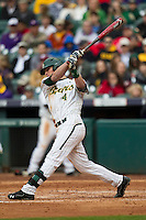 Baylor Bears designated hitter Darryn Sheppard (4) swings the bat during the NCAA baseball game against the LSU Tigers on March 7, 2015 in the Houston College Classic at Minute Maid Park in Houston, Texas. LSU defeated Baylor 2-0. (Andrew Woolley/Four Seam Images)