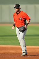 Frederick Keys first baseman Christian Walker (19) on defense against the Winston-Salem Dash at BB&T Ballpark on May 28, 2013 in Winston-Salem, North Carolina.  The Dash defeated the Keys 17-5 in the first game of a double-header.  (Brian Westerholt/Four Seam Images)