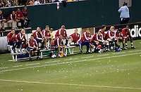 Team Chivas USA bench look on during the Super Clasico MLS match. The LA Galaxy defeated Chivas USA 5-2 during the SuperClasico at the Home Depot Center Stadium, in Carson, California, Saturday, April 26, 2008.