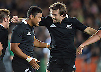 Conrad Smith congratulates Julian Savea on his debut try during the Steinlager Series international rugby test match between All Blacks and Ireland at Eden Park, Auckland, New Zealand on Saturday, 9 June 2012. Photo: Dave Lintott / lintottphoto.co.nz