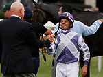 """October 10, 2018 : Trainer George Arnold and jockey Jose Lezcano share a hug after winning the JCPMorgan Chase Jessamine.<br /> #4 Concrete Rose and jockey Jose Lezcano win the 28th running of The JPMorgan Chase Jessamine Grade 2 $200,000 """"Win and You're In Breeders' Cup Juvenile Fillies Turf Division"""" for trainer George Arnold and owner Ashbrook Farm, BBN Racing at Keeneland Race Course on October 10, 2018 in Lexington, KY.  Candice Chavez/ESW/CSM"""