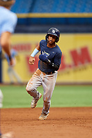 Jelfry Marte (5) runs the bases during the Tampa Bay Rays Instructional League Intrasquad World Series game on October 3, 2018 at the Tropicana Field in St. Petersburg, Florida.  (Mike Janes/Four Seam Images)