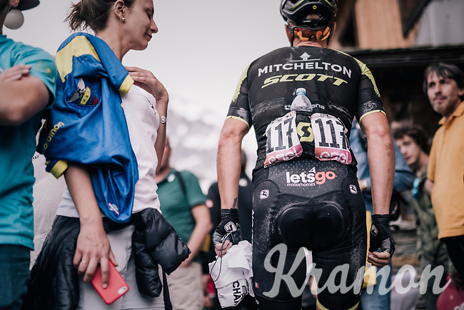 Eldest rider in the Giro Svein Tuft (CAN/Mitchelton-Scott) getting to the team hotel near the finish after the stage<br /> <br /> stage 20: Susa - Cervinia (214km)<br /> 101th Giro d'Italia 2018