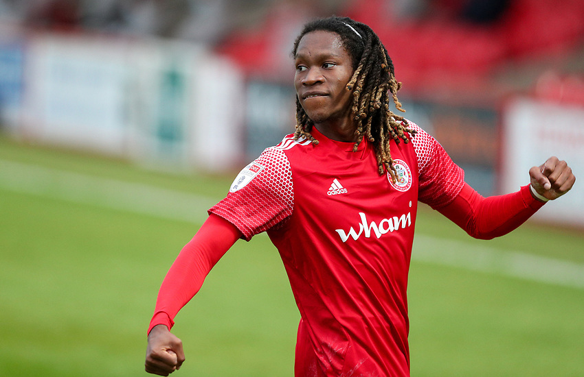 Accrington Stanley's Tariq Uwakwe celebrates scoring the opening goal <br /> <br /> Photographer Alex Dodd/CameraSport<br /> <br /> EFL Trophy Northern Section Group G - Accrington Stanley v Leeds United U21 - Tuesday 8th September 2020 - Crown Ground - Accrington<br />  <br /> World Copyright © 2020 CameraSport. All rights reserved. 43 Linden Ave. Countesthorpe. Leicester. England. LE8 5PG - Tel: +44 (0) 116 277 4147 - admin@camerasport.com - www.camerasport.com