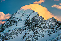 Aoraki Mount Cook 3724m, highest peak of Southern Alps, Aoraki Mount Cook National Park, Mackenzie Country, UNESCO World Heritage Area, South Island, New Zealand, NZ