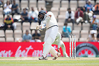 Mohammad Shami, India throws everything at the ball, gets a thick edge and is caught at third man during India vs New Zealand, ICC World Test Championship Final Cricket at The Hampshire Bowl on 23rd June 2021