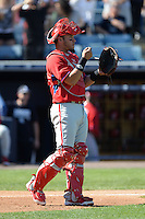 Philadelphia Phillies catcher Sebastian Valle (62) during a spring training game against the New York Yankees on March 1, 2014 at Steinbrenner Field in Tampa, Florida.  New York defeated Philadelphia 4-0.  (Mike Janes/Four Seam Images)