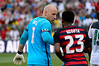 East Hartford, CT - Saturday July 01, 2017: Brad Guzan, Harrison Afful during an international friendly match between the men's national teams of the United States (USA) and Ghana (GHA) at Pratt & Whitney Stadium at Rentschler Field.