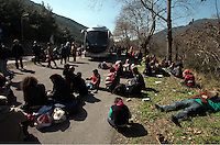 Pictured: Stranded migrants on the hard shoulder in Tempe Thursday 25 February 2016<br />Re: Hundreds of migrants, including families with young children, that were stranded at Tempe in central Greece, were forced to walk on foot on the motorway to reach Idomen, about 168 kilometres away, in the northern part of the country, at the Greek FYRO Macedonian border. Local police were at first escorting them, then made sure that they were safely transported on coaches.